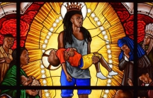 """Detail from """"Mary Comforter of the Afflicted,"""" stained glass portrait by Kehinde Wiley"""