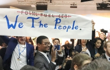 Protesters interrupt a U.S. government pro-coal event during this year's UN Climate Change Conference in Bonn, Germany.