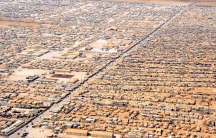 An arial view (2013) of the Za'atri camp in Jordan for Syrian refugees as seen from a helicopter.