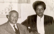 Abebe Haregewoin (right) and his father in Ethiopia.