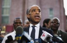 Reverend Al Sharpton speaks before attending the funeral of Eric Garner in New York July 23, 2014.
