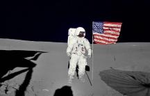 Astronaut Edgar Mitchell on the moon