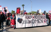 Hundreds of indigenous men and women marched in Phoenix, Arizona, on Sunday in honor of missing and murdered indigenous women.