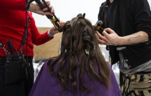 Model has her hair done