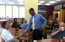 Dennis Benzan meeting constituents