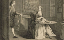 One of the original plates illustrating the novel Pamela, by Samuel Richardson. Etched by L. Truchy and A. Benoist after paintings by J. Highmore.