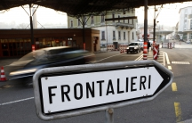 A traffic sign is pictured at the Swiss-Italian border in Chiasso