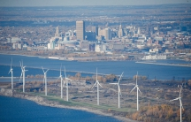 Fourteen wind turbines on the shores of Lake Erie power enough energy for about 10,000 homes. One of the world's largest steel mills formerly occupied the site.