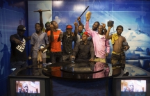 Anti-government protesters at a TV station in Burkina Faso