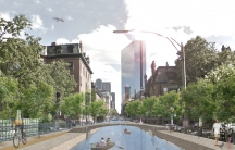 This artistic rendering of a canal system in the Back Bay neighborhood of Boston has people talking about climate change.