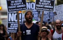 A protester shouts slogans at a protest against white nationalism in New York City