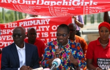 Oby Ezekwesili, Bring Back Our Girls campaigner, speaks during a news conference