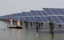 Employees row a boat as they examine solar panel boards at a pond in Lianyungang, Jiangsu Province, China, in this March 16, 2016 photo.