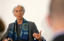 IMF Managing Director Christine Lagarde prepares to host a news conference at the Treasury, in London June 6, 2014. IMF Managing Director Christine Lagarde ruled herself out of the running for the job of European Commission president on Friday.