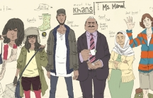 "The Khan family: Kamala Khan, aka ""Ms. Marvel"" (second left) with her brother Aamir, father Yusuf, mother Disha and friend Bruno."