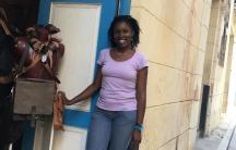 Small business owner Mady Zulueta outside her store, Zulu, in a prime area of Old Havana, Cuba.