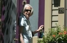 Nancy Curtis, mother of American writer Peter Theo Curtis, briefly answers reporters' questions outside her home in Cambridge, Massachusetts August 25, 2014. Al Qaeda-linked militants in Syria on Sunday freed Peter Theo Curtis, who has been missing since