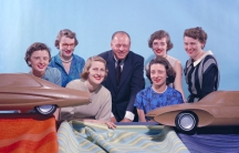 "Six of GM's ""Damsels of Design,"" photographed circa 1955. From left: Suzanne Vanderbilt, Ruth Glennie, Marjorie Ford Pohlman, Harley Earl, Jeanette Linder, Sandra Logyear, Peggy Sauer."