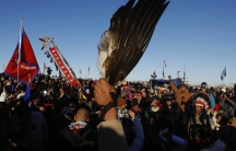 Native Americans Celebrating at the Standing Rock Camp