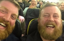 Douglas (right) and his doppelganger, en route to Galway