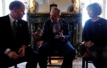 US Senate Minority Leader Chuck Schumer (D-NY) welcomes newly-sworn in Senator Doug Jones (D-AL) and Senator Tina Smith (D-MN)
