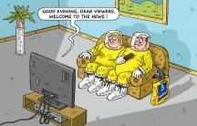 Suited up for the news, a cartoon by Slovakian cartoonist Marian Kemensky.