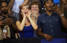 Supporters of Democratic Presidential nominee Hillary Clinton cheer during a rally at West Philadelphia High School in Philadelphia, Pennsylvania, August 16, 2016.