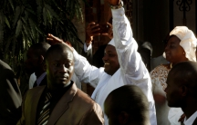 Gambia's President-elect Adama Barrow waves
