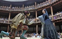 "Actors Dominic Rowan (L) and Miranda Raison perform as Henry VIII and Anne Boleyn in Shakespeare's ""Henry VIII"" at Shakespeare's Globe in London."
