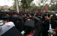 Graduating students attend USC's Commencement Ceremony at the University of Southern California in Los Angeles, California, May 15, 2015.