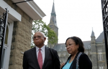 Joe Stewart and Patricia Bayonne-Johnson, both descendants of people sold as slaves by Georgetown University, visit the school on September 1, 2016 in Washington, D.C.