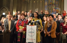 """Prof. Larycia Hawkins told a news conference on January 6, """"Wheaton College cannot scare me into walking away from the truth that all humans, Muslims, the vulnerable, the oppressed, are all my sisters and brothers."""""""