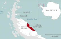 A map of Antarctica shows where the Larsen C ice shelf has broken, creating one of the largest icebergs ever since observation began. The iceberg is roughly the size of Delaware.
