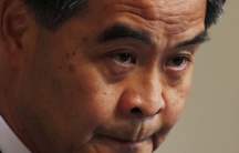 Hong Kong Chief Executive Leung Chun-ying looks on as he meets journalists in Hong Kong.