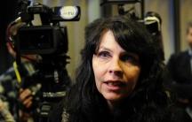 Birgitta Jonsdottir of the Pirate Party speaks in Reykjavik, Iceland on April 6, 2016.