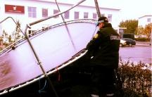 """Reykjavik raining sideways and trampolines are on the move"" from the Reykjavík metropolitan police's Instagram"