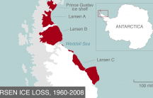 Total ice loss on the Larsen ice shelf, 1960-2008