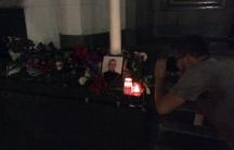 Memorial to a Ukrainian soldier