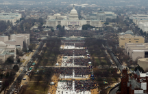 Attendees partake in the inauguration ceremonies to swear in Donald Trump as the 45th president of the United States at the US Capitol in Washington, Jan. 20, 2017.