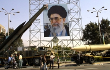 The Iranian military displays missles at Tehran's Baharestan Square to commemorate the 1980-88 Iran-Iraq war.