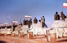 Islamic Republic of Iran Army T-55s move to front line of Iran-Iraq War.