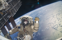 Russian cosmonaut Sergey Ryazanskiy is pictured during a session of extravehicular activity (EVA) in support of assembly and maintenance on the International Space Station.