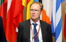 Britain's ambassador to the European Union Ivan Rogers is pictured leaving the EU Summit.