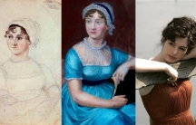 (L) Sketch of Jane Austen in 1810, (C) a 1870 portrait of Austen based on the 1810 sketch and (R) Anne Hathaway as Jane Austen