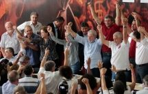 Former Brazilian president Luiz Inacio Lula da Silva attends a meeting with members of the Workers Party that decided Lula da Silva will be its candidate again in the 2018 election, despite losing an appeal against a corruption conviction that will likely