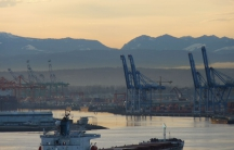 The Vancover Notch as seen from Commencement Bay in Tacoma, Washington.