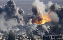 The immediate aftermath of a coalition airstrike on Syria in October, 2015.