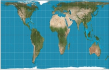 The world, filtered through the Gall–Peters projection, is pictured here. Its imagery is a derivative of NASA's Blue Marble summer-month composite with oceans lightened to enhance legibility and contrast. The image was created with the Geocart map project