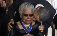 Maya Angelou receives a Medal of Freedom from U.S. President Barack Obama at the White House in Washington, February 15, 2011.