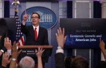 U.S. Secretary of the Treasury Steven Mnuchin discusses the Trump administration's tax reform proposal in the White House briefing room in Washington, U.S, April 26, 2017.